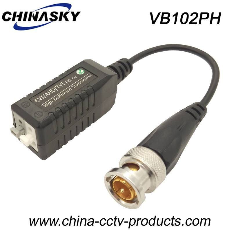 Screwless HD-CVI/TVI/AHD Passive CCTV Video Balun with Pigtail (VB102PH)