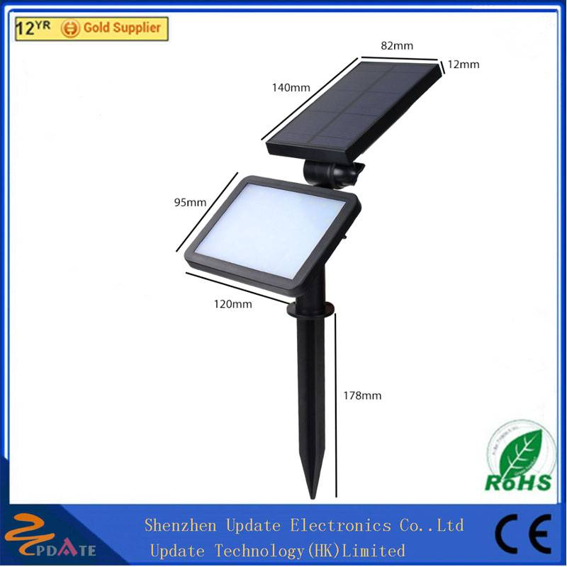 CE RoHS ABS 48 LED solar powered spot light outdoor wall lamp for garden