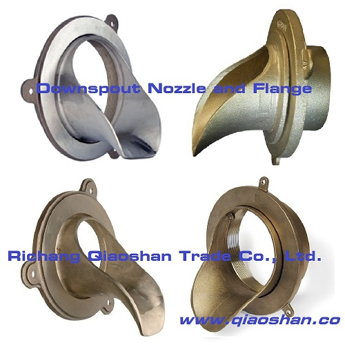 Bronze, Nickel Bronze Downspout Nozzle with No-Huband Thread Inlet