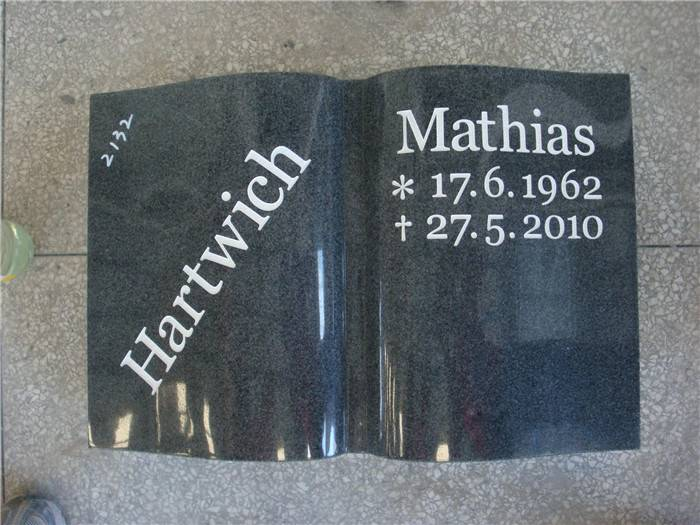 European Style book shape granite headstone