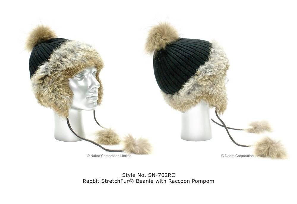 Rabbit StretchFur Beanie with Raccoon Pompom (Style# SN-702RC)