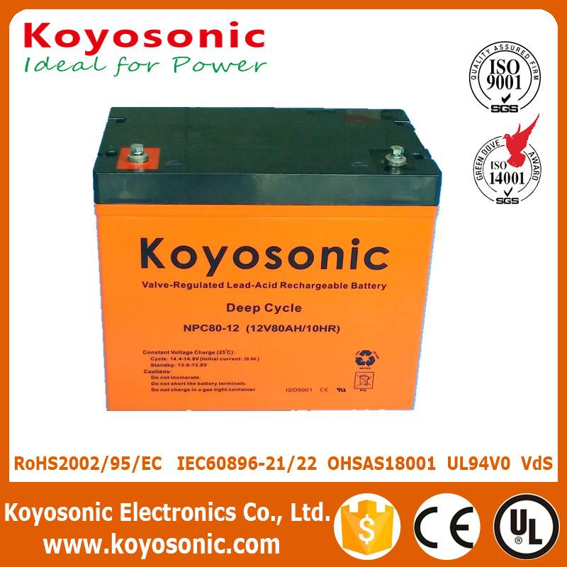 Top Quality Sealed Lead Acid 12V 80AH Deep Cycle Battery Solar Battery
