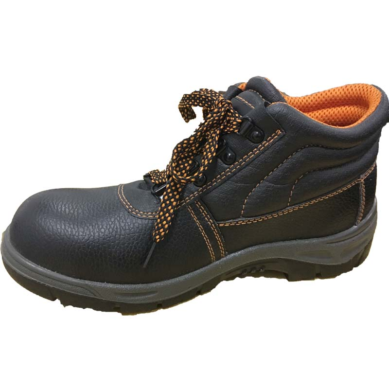 Yellow Mesh Black Emboss Leather Upper Rubber Sole Safety Shoes