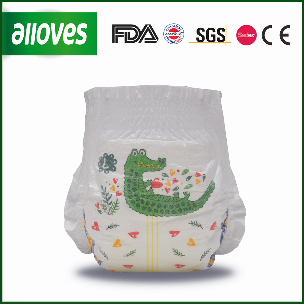 Alloves breathable pants disposable crocodile printing training pants for baby