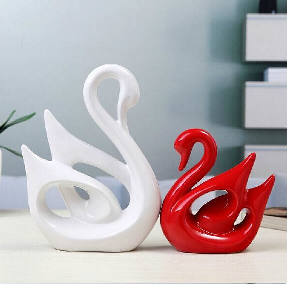 pottery swan lover home decoration handmade crafts wedding gifts
