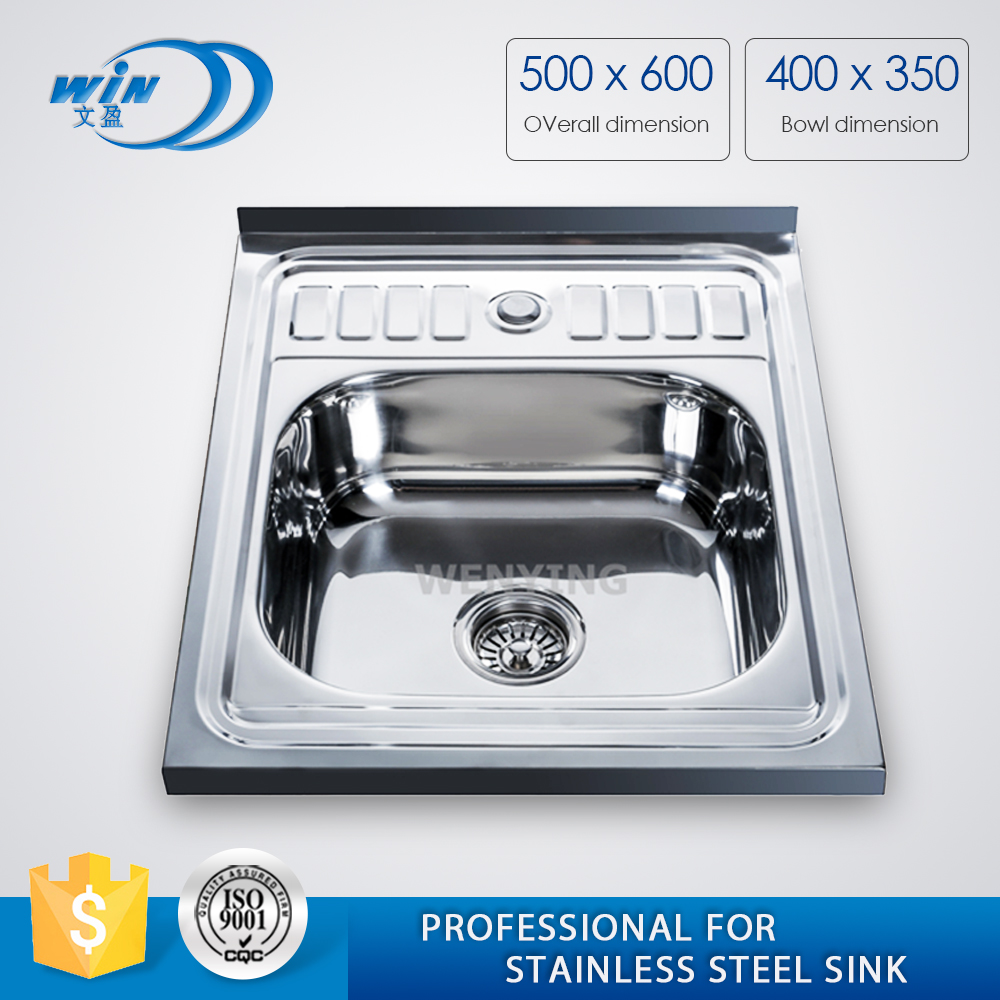 WY-6050 Topmount Stainless Steel Single Bowl Kitchen Sink With Built-In Double Drainboard