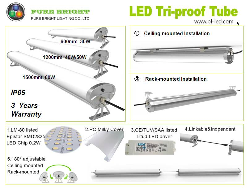 IP65Water-Proof 4ft 50watt Supermarket Dust-Proof Durable Tri-Proof LED Lights 1200mm/1.2m 40W/50W w