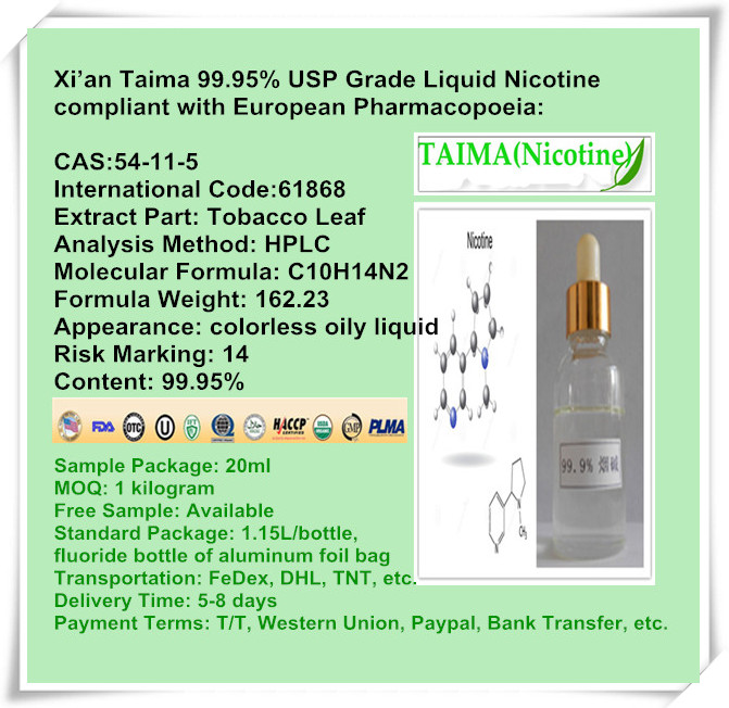 Competitive Price // High Quality Pure Nicotine --- 99.99% USP grade liquid nicotine
