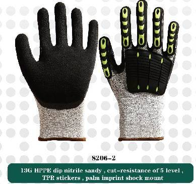 13G HPPE ,cut-resistant  gloves,safety work gloves