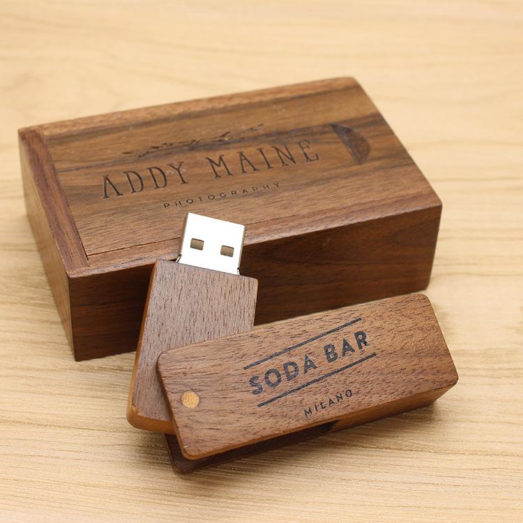 CaraUSB wood swivel usb disk Walnut twist flash memory giveaways