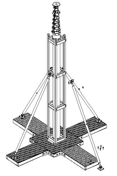 detachable base plate mobile telecom tower