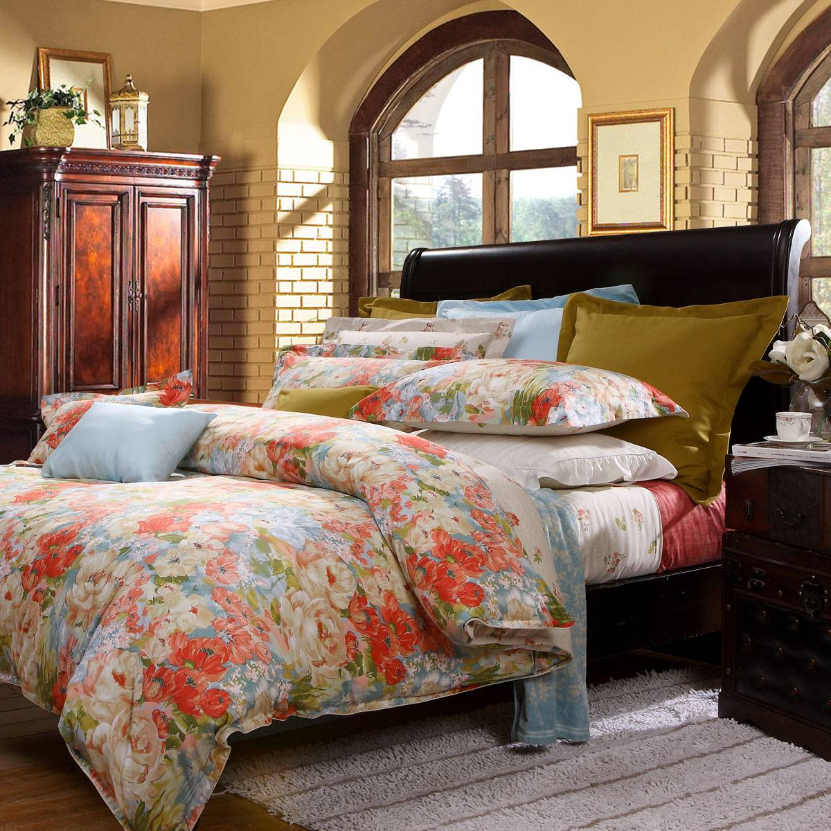 Fuanna Warm Fall 3 Pieces Set Cotton Printed Queen Duvet Cover and Pillow Shams