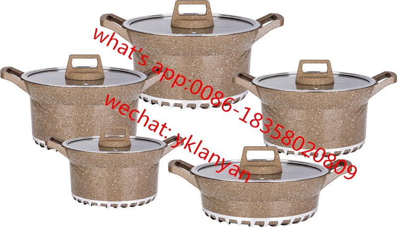 Bosch Brand Marble coating 10pcs pan set with energy-saving bottom