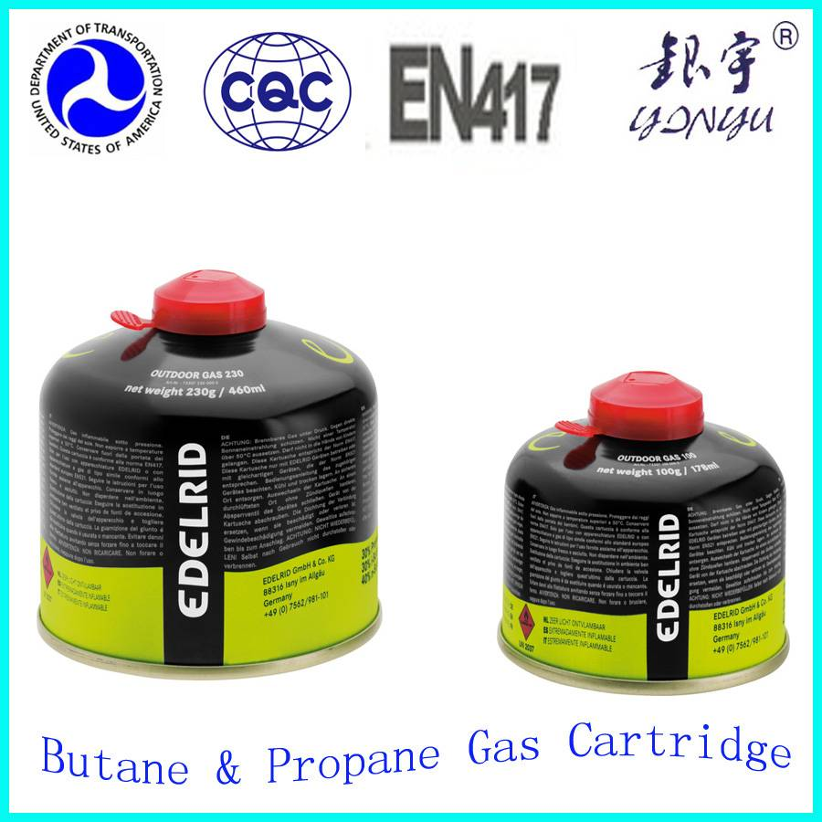 Small butane gas tank for camping gas 230g thread type