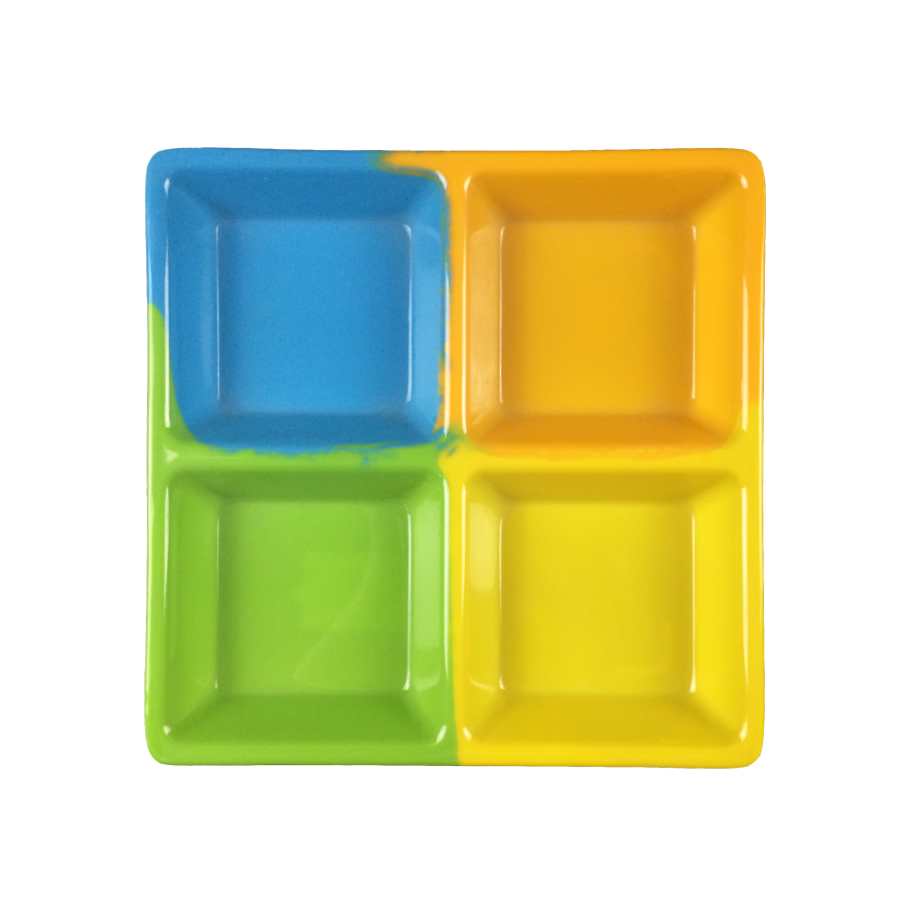 4 compartment colorful melamine plate