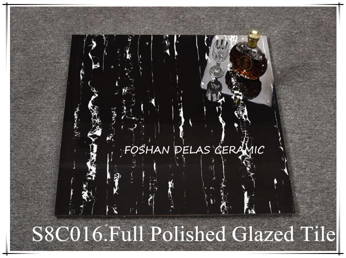 8C016 Shopping Mall Plaza White Black Shiny Floor Tile