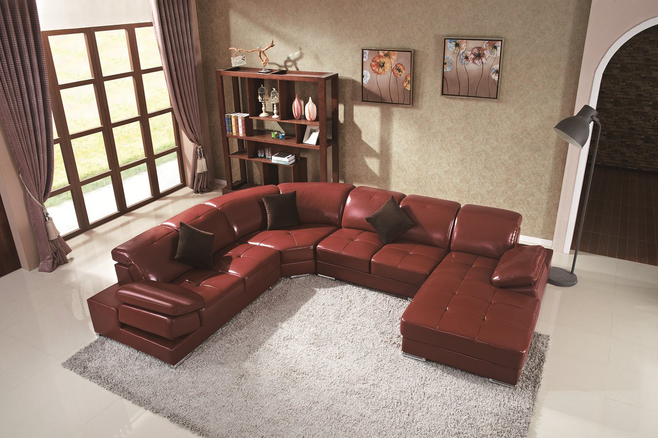 Modern Style Home L-Shape Corner Sofa with PU Leather