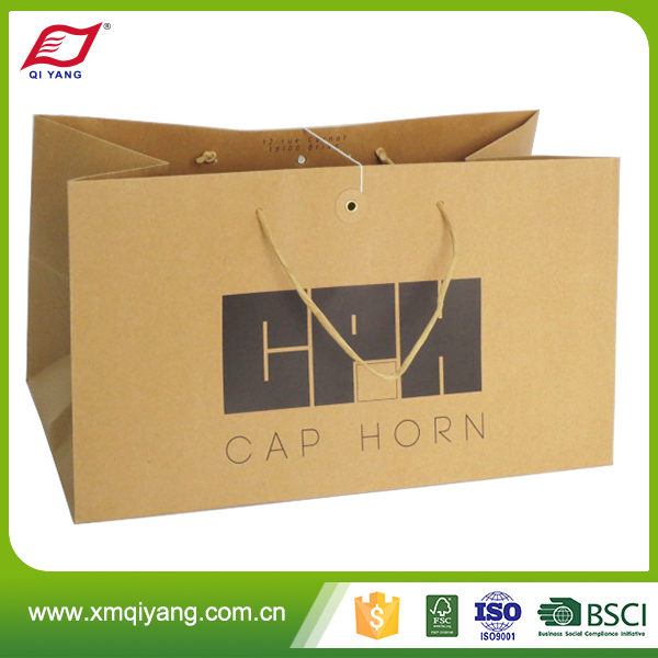 Manufacturer wholesale luxury custom kraft brown paper shopping bag