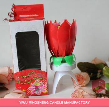 High quality red flower singing birthday candle