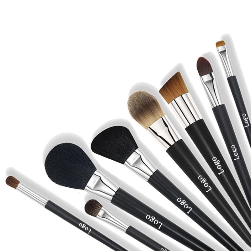 Factory Supplier Customized 8pcs High Quality Cool Black Makeup Brush set OEM Custom LOGO