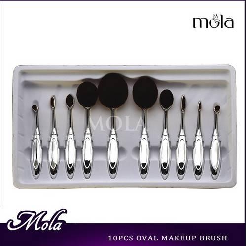 Silver 10pcs makeup brushes