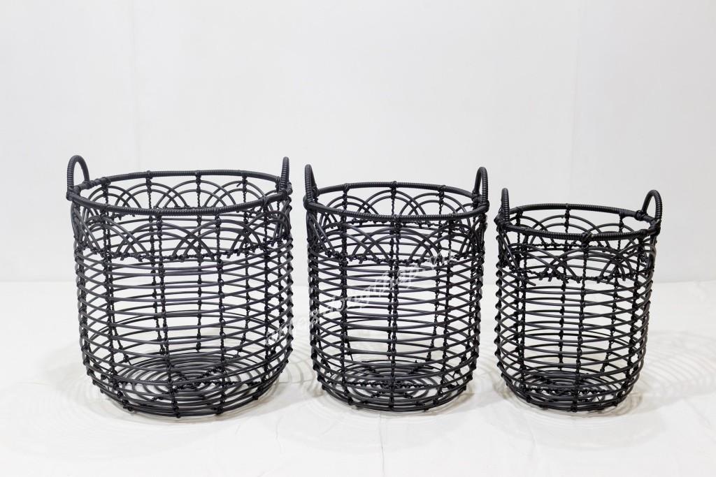Best selling poly rattan storage basket-CH3982B-3BL