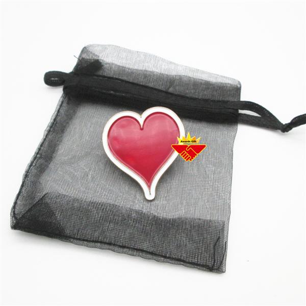 Heart Shape Enamel Lapel Pin Badge