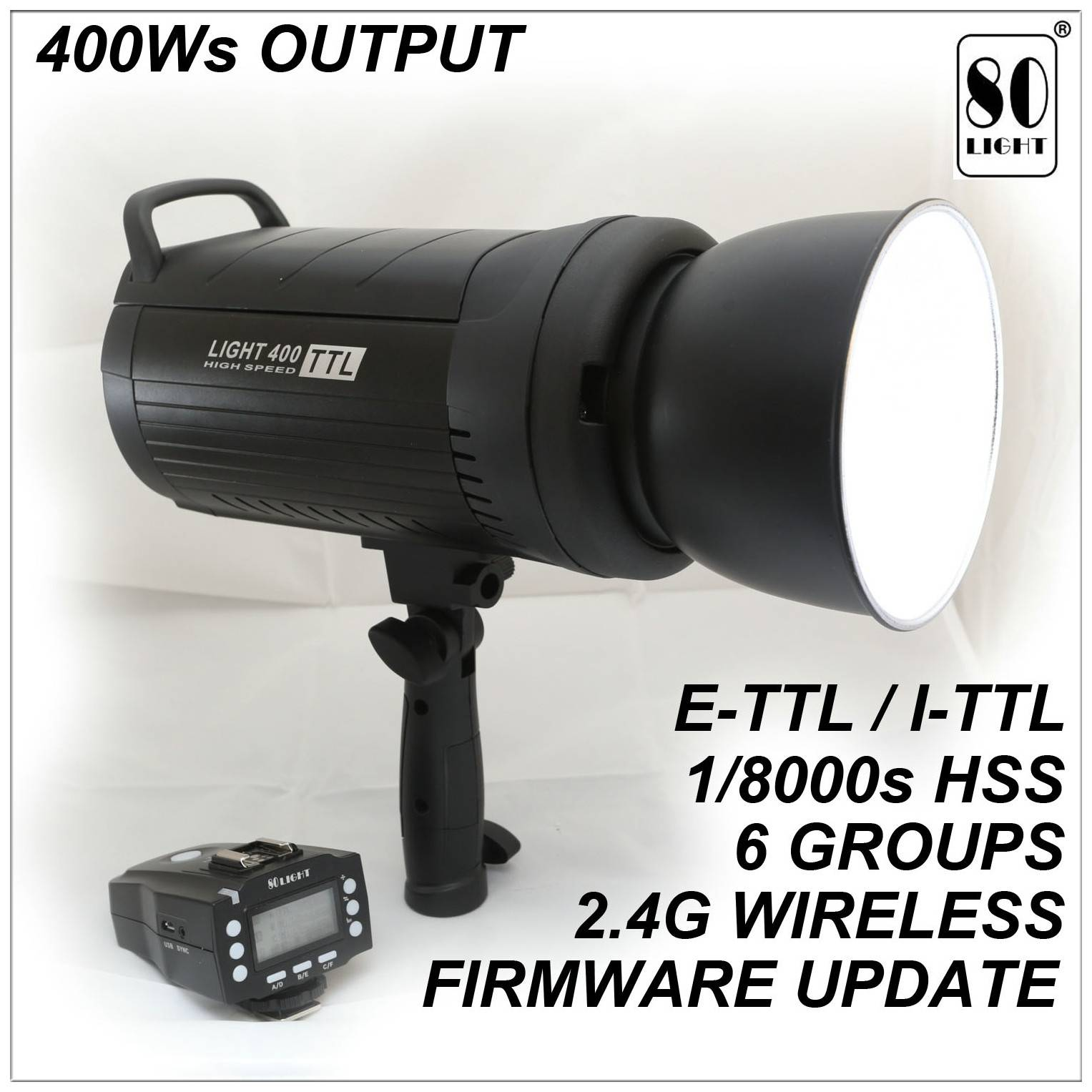80LIGHT High Quality Outdoor Photographic Flash 400Ws TTL HSS Bowens Mount