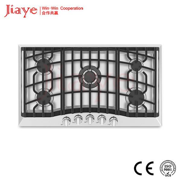 Newest design 5 Burner stainless steel panel gas hob