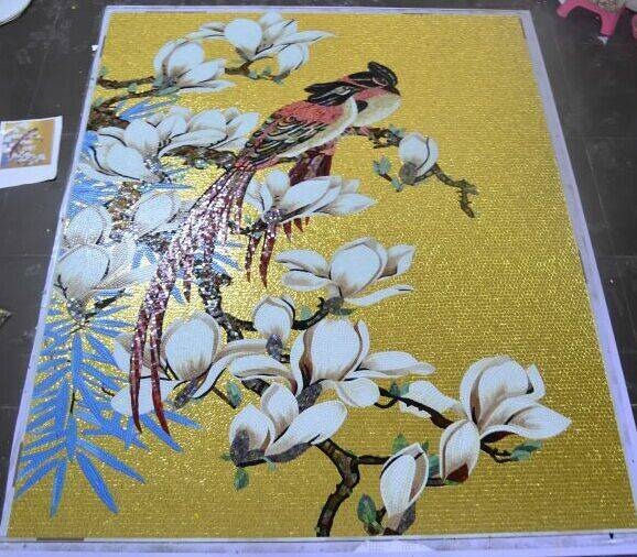 Gold foil mosaic tiles for wall and floor, paint design, pattern