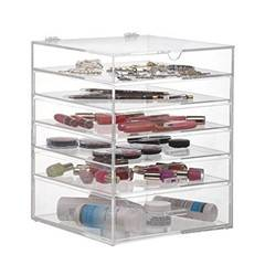 Beautify Clear Acrylic Cosmetic Makeup Cube Organizer With 3 Drawer