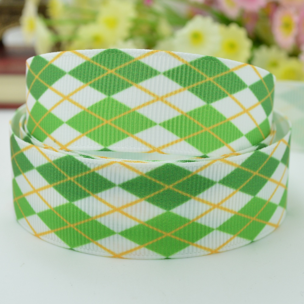 St. Patrick's Day Grosgrain Blue And White lattice Printed Ribbon