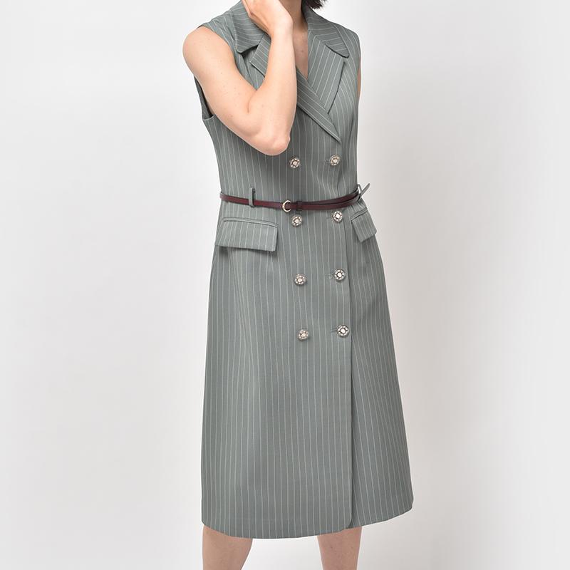 Eccellente Custom Women's Suit Dress Slim Fashion Vest Skirt Striped Double Breasted Commuter A-Line