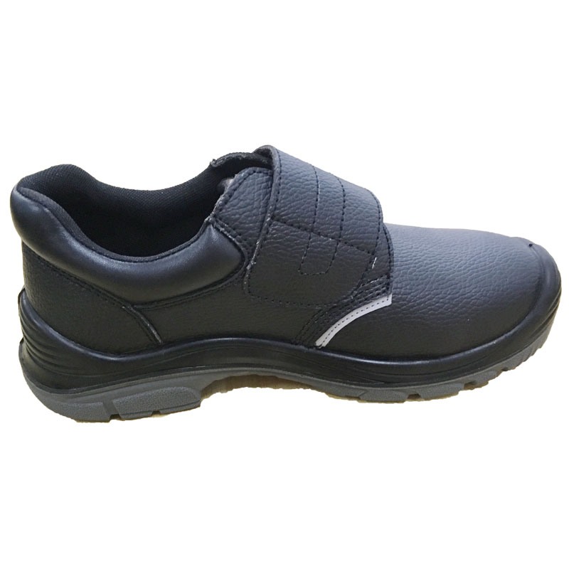 Classic Design Black Full Grain Leather Upper Low Cut Safety Shoes with Steel Toe
