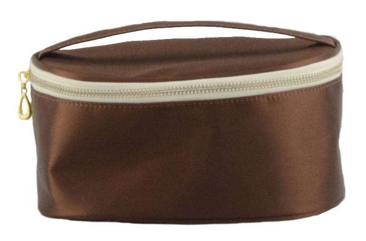 Modern fashion brown stain travel cosmetic bag for ladies
