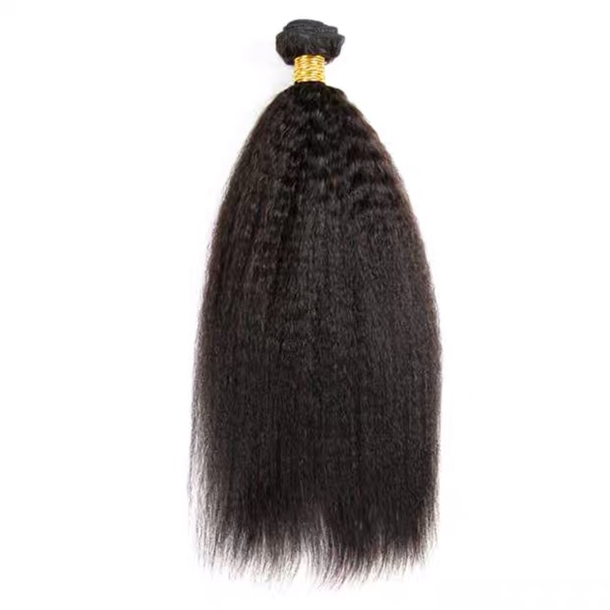 LEDON Hair Weft, Kinky Straight KKS, 1B Natural Black,100% Human Remy Hair Extensions