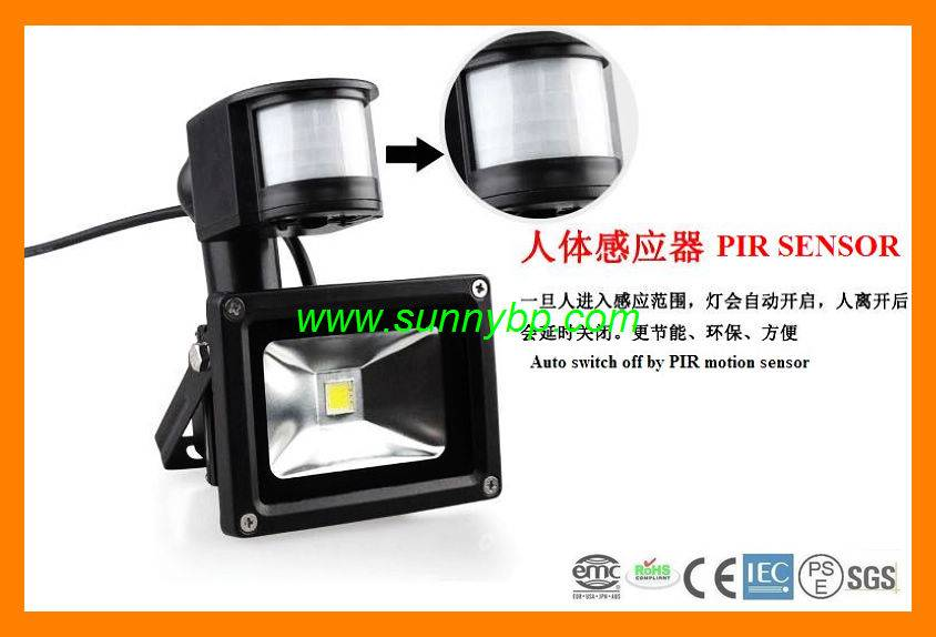 10 Watt Solar Power LED Flood Light with PIR Sensor