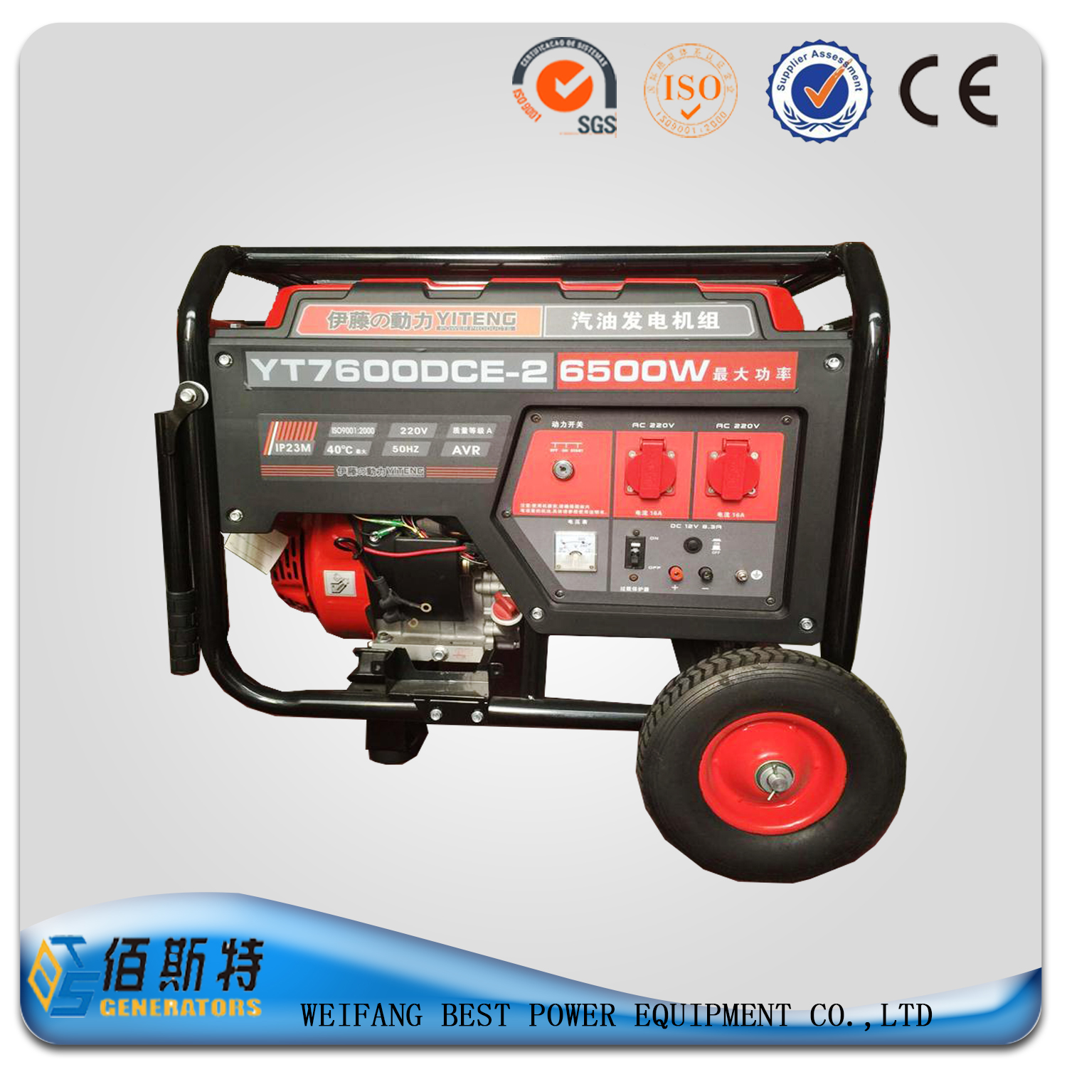 Portable gasoline generator set for home use