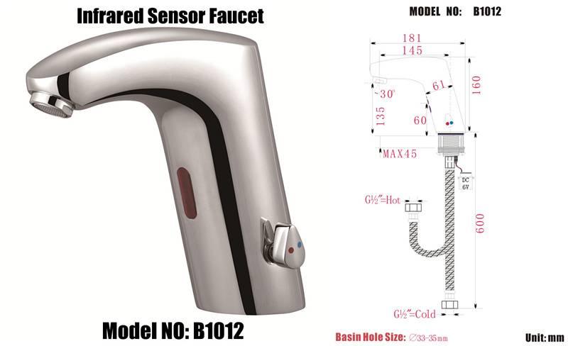 auto sensor taps faucet model :B1012