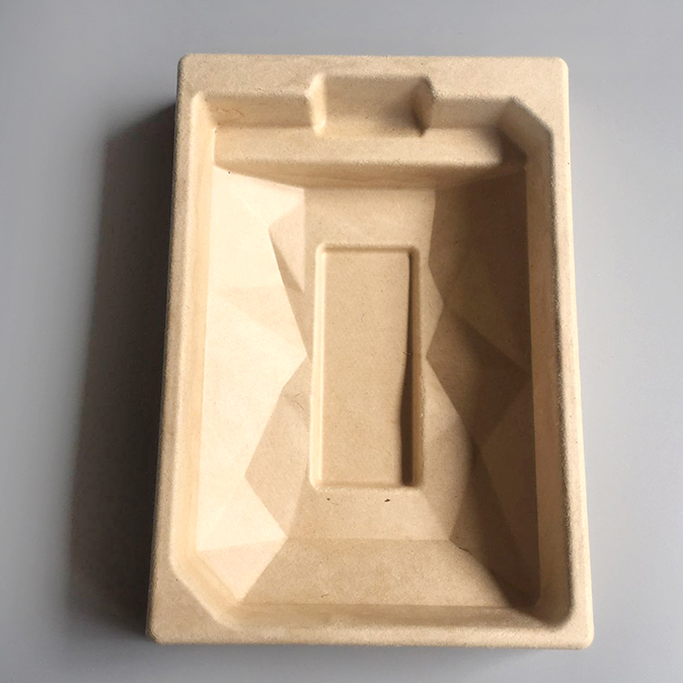 Biodegradable bamboo electronic insert tray molded paper pulp packaging