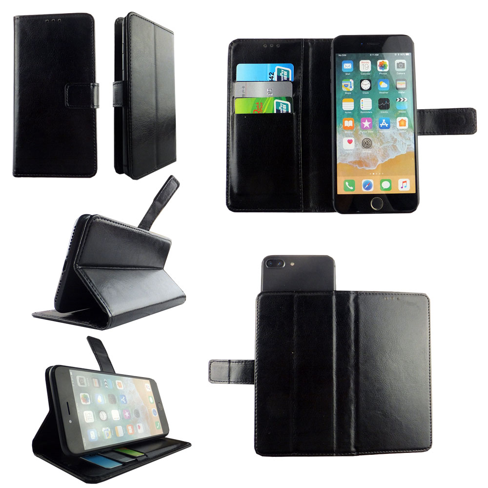 Universal plain color leather mobile phone case with card slots and cash pocket for many brands