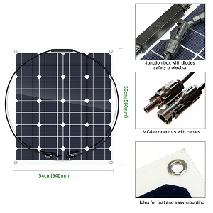 Photovoltaic 50W 18V Semi-Flexible Solar Panel Mono Cell Module Kit for Yacht RV Boat Car Charger