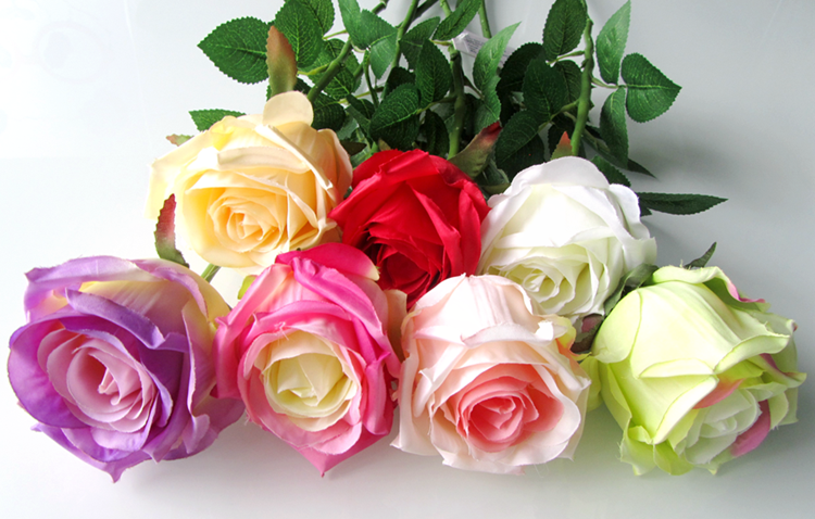 Artificial Flowers Silk Flowers single rose Home Wedding Party Decoration