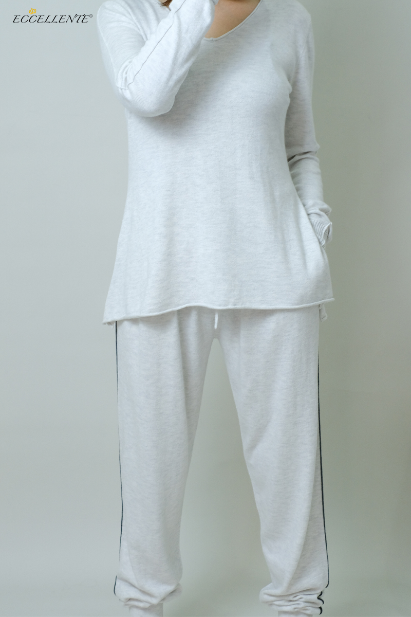 Eccellente Custom Autumn and Winter Women's Home Wear Casual Loose Cashmere V-Neck Korean Version C