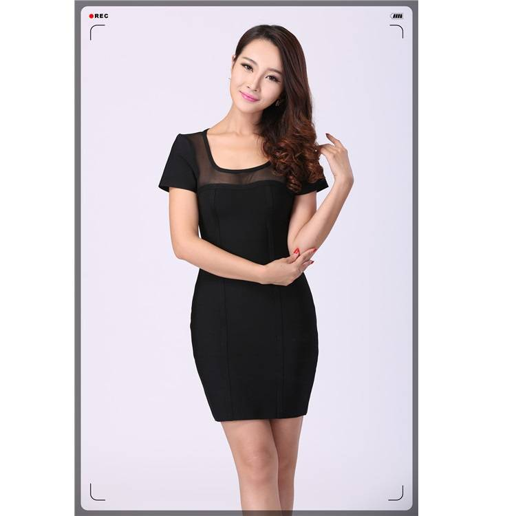 2016 Stylish black mesh slim short dress on alibaba