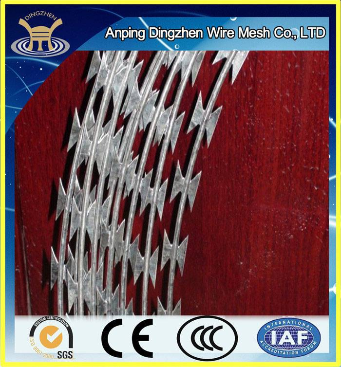 Hot Sale ! China Factory Best Selling Concertina Razor Barbed Wire Price / Concertina Razor Barbed W