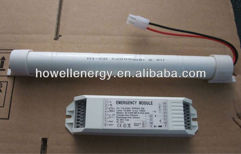 LED tube lighting emergency module with power pack