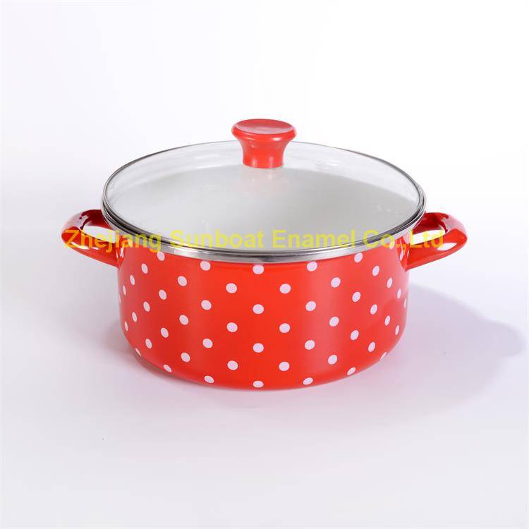 7QT Enamel stock pot with cover