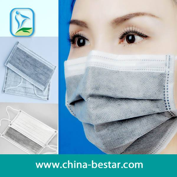 4-ply non woven active carbon face mask with ear-loops