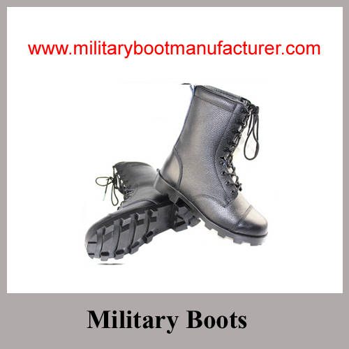 Wholesale China Made Black Grain Leather Cement Workmanship Police Combat Boot